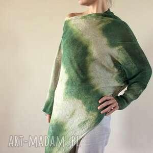 hand-made bluzki asymetryczna lniana bluzka natura&zieleń