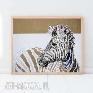 plakat 50x70 cm - zebra, plakat, wydruk, obraz, paski, nowoczesny