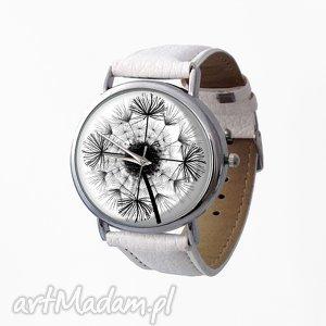 ręcznie wykonane zegarki dmuchawiec - skórzany zegarek z dużą tarczą