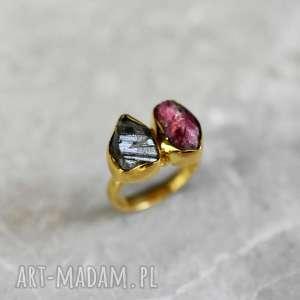 925 Srebrny pierścionek turmalinowy z 18-karatowym złotem, kamienie, szlachetne