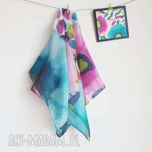 malowana apaszka w kolorowe kwiaty, kwiatowa apaszka, turkusowa