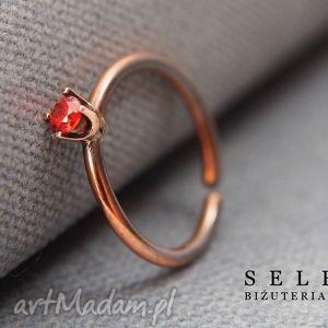 selenit pierścionek z cyrkonią oranż, wire, wrapping, cyrkonia, miedź