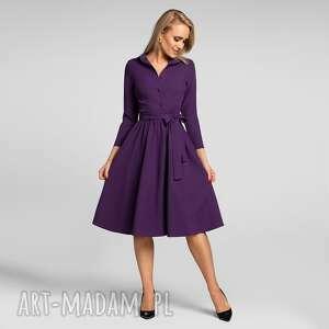 sukienka sabina midi fiolet, midi, szmizjerka, z kołnierzem