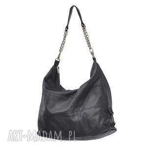 05-0001 Torebka czarna z łańcuszkiem na ramię FALCON, torba-z-łańcuszkiem