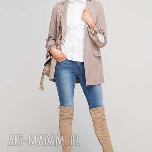 Żakiet z wiązanym rękawem, ZA116 beż, klasyczny, prosty, casual, twist, żakiet