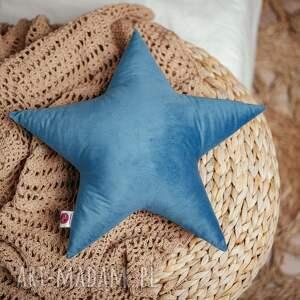 poduszka gwiazdka - turkusowa, rękodzieło, welur, poduszk gwiazdka, na prezent