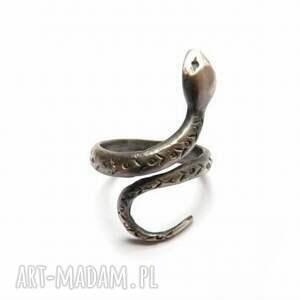wąż - pierścionek srebrny, pierścionek, biżuteria, autorska, prezent