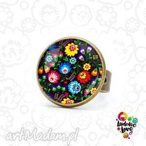 pierścionek ludowy, folk, polskie, wzory, tradycja, łowickie, kwiaty