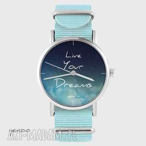 hand-made zegarki zegarek, bransoletka - live your dreams niebieski, nato