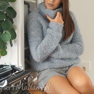 sweter z golfem - sweter, golf, alpaka, druty, dziergany, sweterek