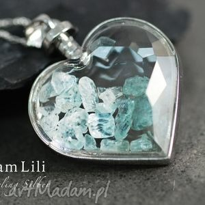 925 srebrny naszyjnik AQUAMARINE , aquamarine, kamienie, medalion, niebieski, srebro