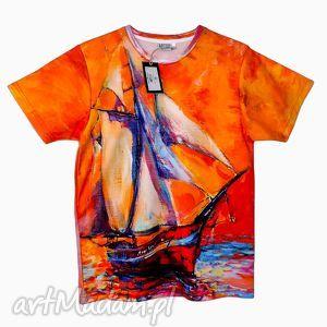 artystyczny t-shirt - malowany statek jakość premium, modny, fajny, wakacyjny