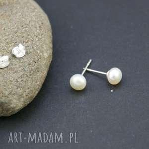 Kolczyki srebro 925 perła naturalna, kolczyki, srebrne, wkrętki, perełki, naturalne