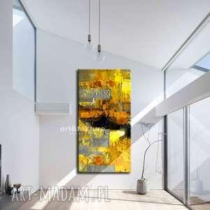 art and texture: żółto szare złudzenie - abstrakcyjne obrazy do modnego salonu zolta