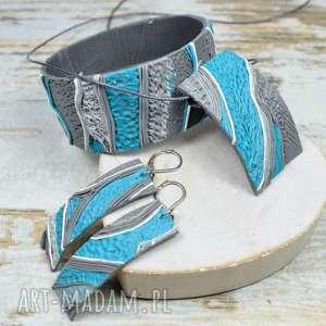 oryginalny komplet biżuterii w odcieniach turkusu i szarości - bransoletka, zawieszka