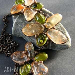 Naszyjnik kwiatowy cytrynowo-zielony, naszyjnik-kwiatowy, naszyjnik-z-kamieni