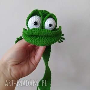 szydełkowa zakładka żabiszon, szydełko, włóczka, żaba, prezent