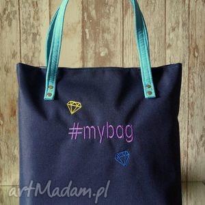 Torba z haftem #mybag na ramię happyart torebka, miejska