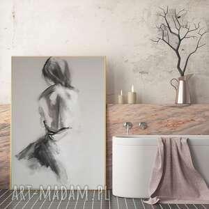 W bieli 50x70 dom galeria alina louka grafika kobieta, czarno