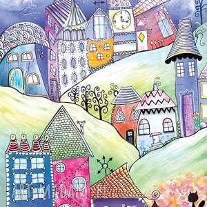 baśniowe wzgórza - puzzle magnetyczne, puzzle, art, artystyczne, krajobraz, obraz