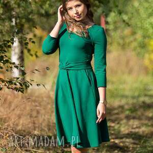SOFI sukienka rozkloszowana z rękawem 3/4, butelkowa zieleń., sukienka, koktajlowa