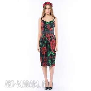 KRÓLOWA RÓŻA - SUKIENKA O GORSETOWYM FASONIE, sukienka, gorsetowa, kolorowa, róże