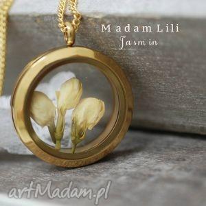 handmade naszyjniki ♥ prawdziwe kwiaty jaśminu ♥ łańcuszek medalion