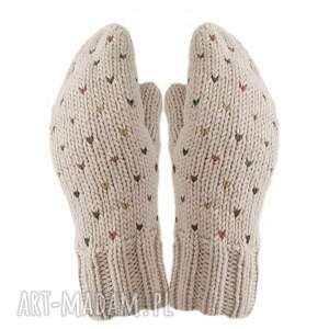 rękawiczki poke beż dziergane, jednopalczaste, prezent, wełniane, z jednym