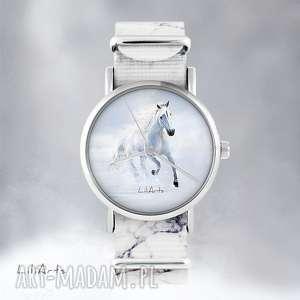 Prezent Zegarek - Biały koń, biegnący marmurkowy, nato, zegarek, bransoletka, koń