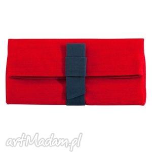 kopertówki 02-0004 kopertówka czerwona z kokardą wizytowa do ręki starling
