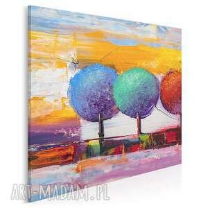 Obraz na płótnie - drzewa kolorowy artystyczny w kwadracie 80x80
