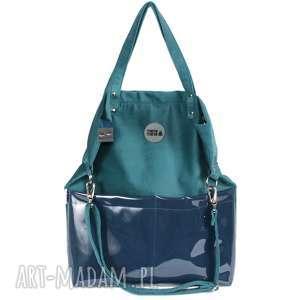 handmade na ramię torebka damska cube zielona z kieszeniami w kolorze morskim