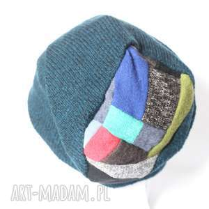 czapki czapka wełniana handmade ciepła, czapka, etno, zima, patchwork, wełna
