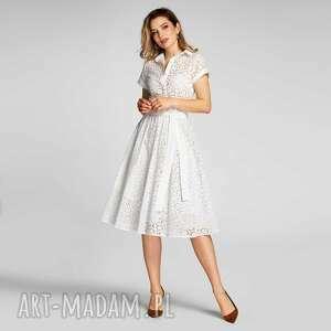 sukienki sukienka hilary midi colette, szmizjerka, midi, bawełna, haft