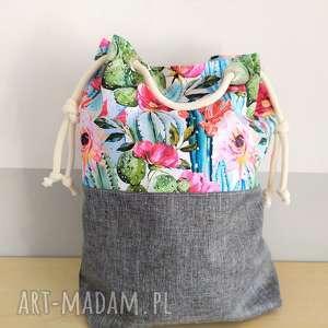 handmade na ramię torba worek w kaktusy