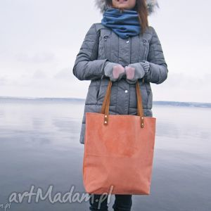 Shopper bag, torba, brzoskwinowa, szyte, modna