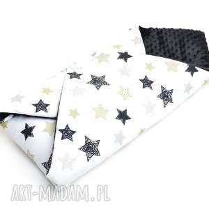 hand-made dla dziecka becik otulacz rożek minky czarne gwiazdki/czarny