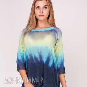 Sweterek cieniowany , ombre, sweter, nadruk,
