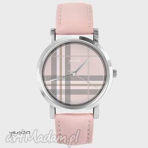 ręczne wykonanie zegarki zegarek - szkocka krata pudrowy ró&#380