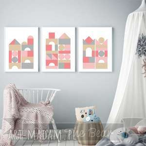 zestaw plakatÓw dla dzieci klocki a3, plakaty, obrazki, dziecko, klocki, pokoik