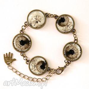 dmuchawiec - bransoletka, elegancka, kaboszon, mniszek, kwiaty