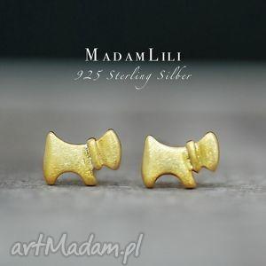 925 srebrne mini kolczyki PIES ręcznie pozłocone, pies, kolczyki, biżuteria, berlin