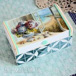 pudełko drewniane - widok na morze, pudełko, decoupage, dzień kobiet