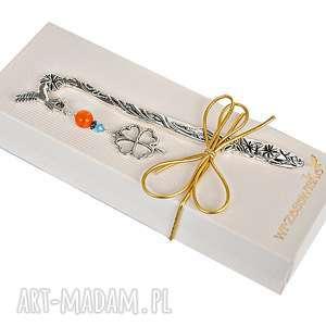 na święta prezent Koniczyna szczęście - zakładka w pudełku, zakładki, swarovski