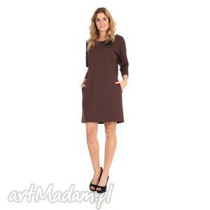 45-sukienka z kokardą,brązowa,rękaw 3/4, lalu, sukienka, dzianina, bawełna, kieszenie