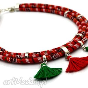 naszyjnik boho masayum z chwostami - tkanina, boho, chwosty, kolorowo, etniczny