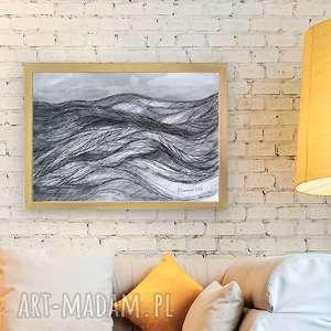 czarno biały rysunek z morzem, morze rysunek, obraz biało czarny