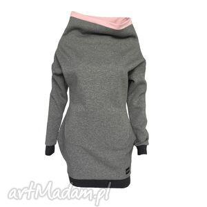 ręcznie wykonane sukienki sukienka dresowa z kominem wykończona gumą
