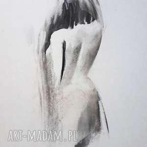 dom kobieta 30x40, grafika kobieta, czarno biała grafika, obrazek