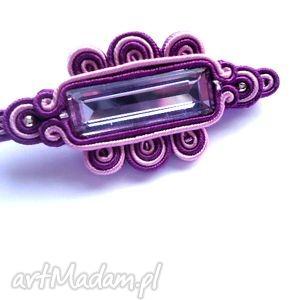 broszka sutasz fioletowa z kryształkiem - kryształek, agrafka, broszka, sutasz
